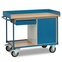 Établi roulant fetra®, placard + 1 tiroir, avec rebord