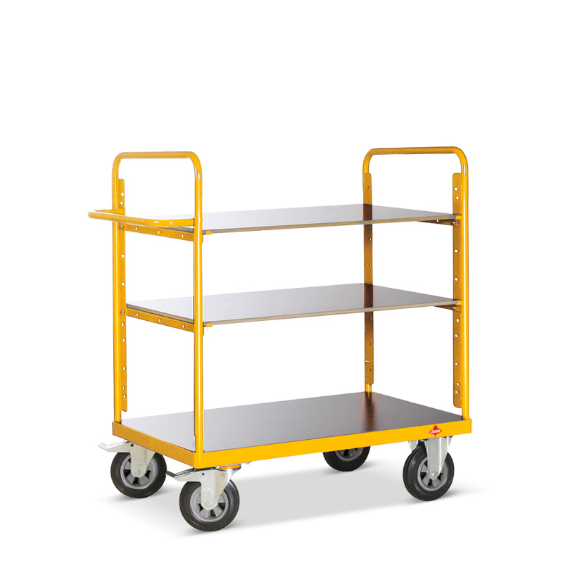 Etagenwagen Ameise®. 3 verstellbare Holzböden, Tragkraft bis 500 kg