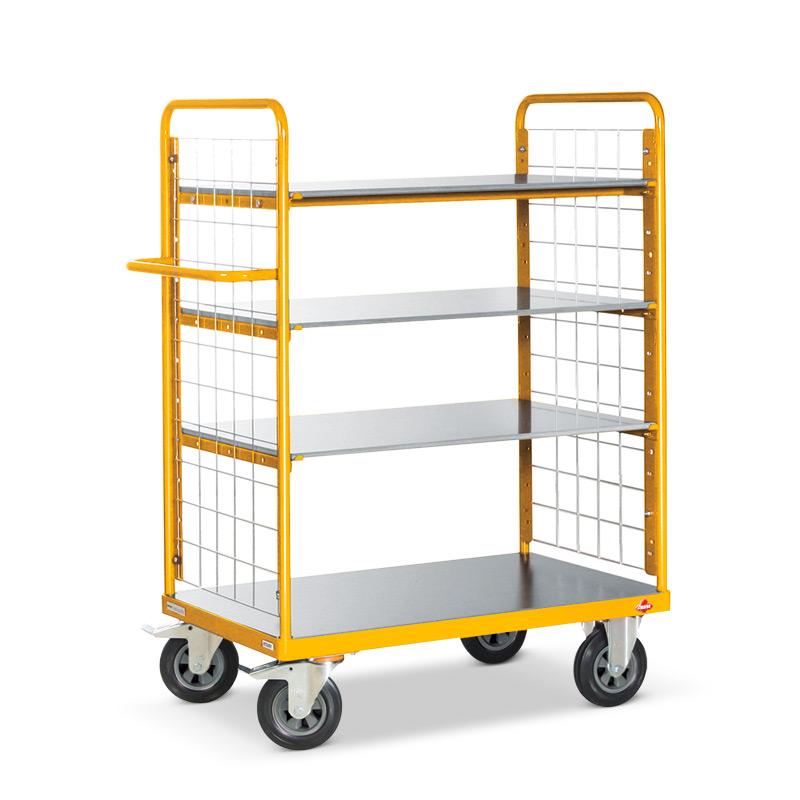Etagenwagen Ameise ®. 4 Etagen, 2 Gitterwände. Tragkraft 500kg