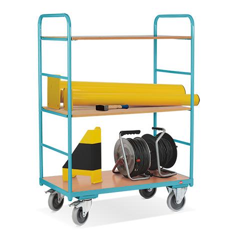 Etagenwagen Ameise® mit 3 Böden und 2 Streben-Wänden