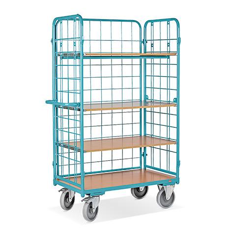 Etagenwagen Ameise® mit 4 Böden und 3-seitig vergittert