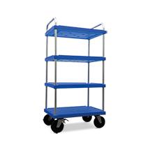 Etagenwagen aus Kunststoff mit 4 Böden, Ladefläche BxT 800x600mm, blau