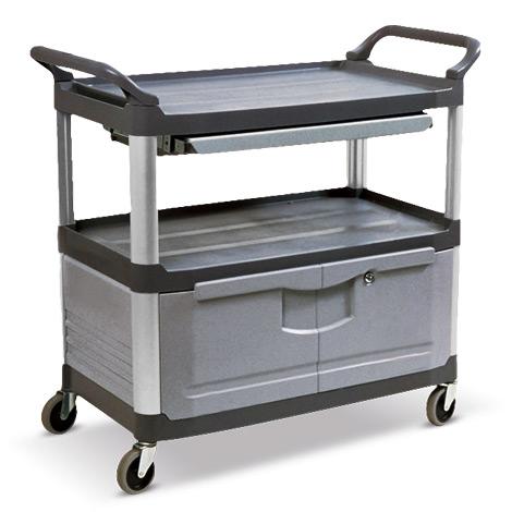 Etagenwagen aus Polypropylen mit 2 Böden, 1 Schublade, Schrank. Tragkraft 135 kg