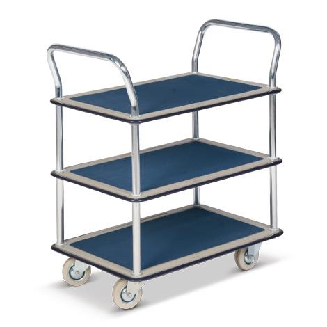 Etagenwagen BASIC mit 3 Stahlblech-Böden, Antisutschbelag, Tragkraft 120kg.