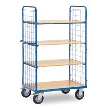 Etagenwagen fetra® mit 2 Drahtgitter-Wänden und 4 Holzböden
