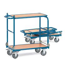 Etagenwagen fetra® mit 2 Holzböden, zusammenklappbar. Tragkraft bis 250 kg
