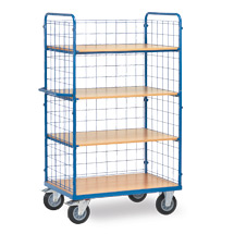 Etagenwagen fetra® mit 3 Drahtgitter-Wänden und 4 Holzböden