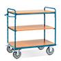 Etagenwagen fetra® mit 3 Holzböden, abgerundeter Bügel. Tragkraft bis 500 kg