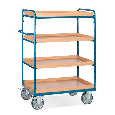 Etagenwagen fetra® mit 4 Einlegekästen. Ohne Wand-Streben, Höhe bis 1,50m
