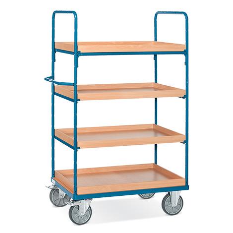 Etagenwagen fetra® mit 4 Einlegekästen. Ohne Wand-Streben, Höhe bis 1,80m
