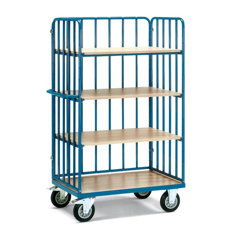 Etagenwagen fetra® mit 4 Holzböden + 3 Streben-Wänden. Höhe 1,80m