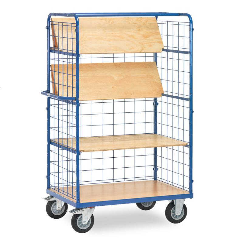 Etagenwagen fetra® mit 4 Holzböden (davon 3 faltbar) + 3 Drahtgitter-Wänden