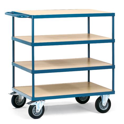 Etagenwagen fetra® mit 4 Holzböden. Tragkraft 500 kg