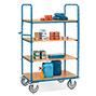 Etagenwagen fetra® mit 4 Holzböden. Tragkraft bis 500 kg, Höhe bis 1,50m