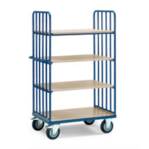 Etagenwagen fetra® mit 4 Holzböden und 2 Streben-Wänden