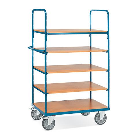 Etagenwagen fetra® mit 5 Holzböden. Tragkraft 600 kg. Gesamthöhe 1800 mm