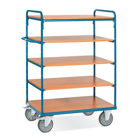 Etagenwagen fetra® mit 5 Holzböden. Tragkraft bis 600 kg. Gesamthöhe bis 1552 mm