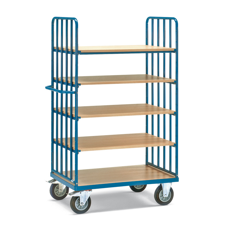 Etagenwagen fetra® mit 5 Holzböden und 2 Streben-Wänden