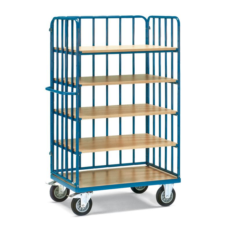 Etagenwagen fetra® mit 5 Holzböden und 3 Streben-Wänden