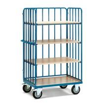 Etagenwagen fetra® mit vertikalen Rohrstreben, 3 Wände