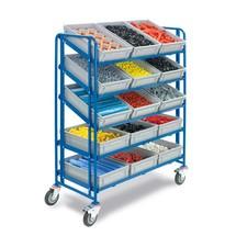 Etagewagen fetra® met 15 bakken op 5 etages. Capaciteit 250kg