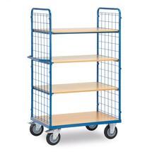 Etagewagen fetra® met 2 gaasroosterwanden en 4 houten borden