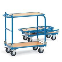 Etagewagen fetra® met 2 houten legborden, inklapbaar. Capaciteit tot 250 kg