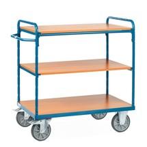 Etagewagen fetra® met 3 houten legborden. Capaciteit tot 500kg