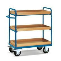 Etagewagen fetra® met 3 legborden met opstaande rand. Zonder wandspijlen