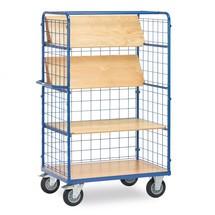 Etagewagen fetra® met 4 houten borden (daarvan 3 vouwbaar) + 3 gaasroosterwanden