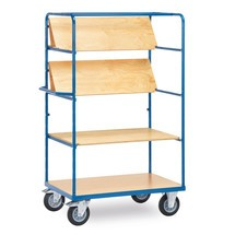Etagewagen fetra® met 4 houten borden (daarvan 3 vouwbaar). Capaciteit 500 kg
