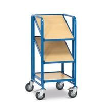 Etagewagen fetra® voor eurokratten. 5 houten borden voor bakken, cap. 250kg