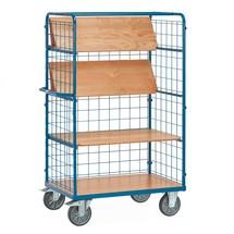 Etážový vozík fetra® se skládacími policemi, mřížové bočnice