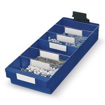 Etichette per contenitori per scaffali in polipropilene senza apertura frontale, bianche