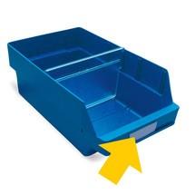 Etiquetas para cajas de almacenaje con abertura frontal