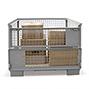 Euro-Gitterbox-Tauschpalette. 1 Längswand mit 2 Klappen, Höhe 800 mm