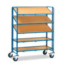 Eurokasten-Etagenwagen fetra®. 5 Holzböden für Kunststoffkästen, Tragkraft 250kg