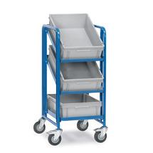 Eurokasten-Etagenwagen fetra® mit 3 Kästen auf 3 Etagen. Tragkraft 200kg