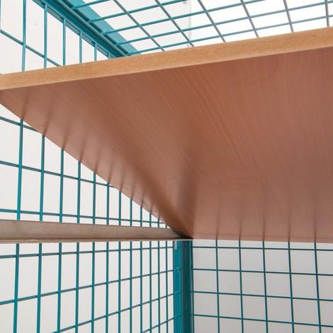 Extra plank voor kast trolley Ameise®, rooster muren, turkoois blauw