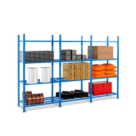 Fachbodenregal Komplettpaket, Stecksystem, 2000x3030x600mm, Stahlrohr-Fachboden