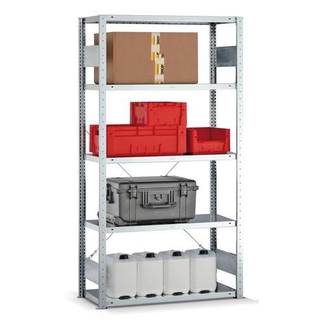Fachbodenregal META Stecksystem, Grundfeld, Fachlast 150 kg, verzinkt