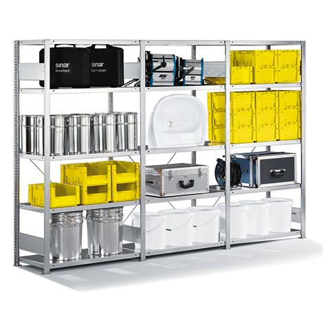 Fachbodenregal META Stecksystem Komplettpaket. Fachlast 230kg