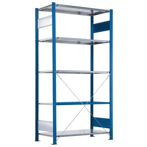 Fachbodenregal SCHULTE Steckmontage, Grundfeld, Fachlast 330 kg, enzianblau/verzinkt