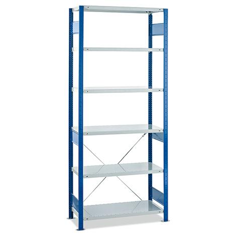 Fachbodenregal Stecksystem Grundfeld. Fachlast 150kg. Blau/grau