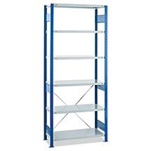 Fachbodenregal Stecksystem Grundfeld. Fachlast 250 kg, blau/grau
