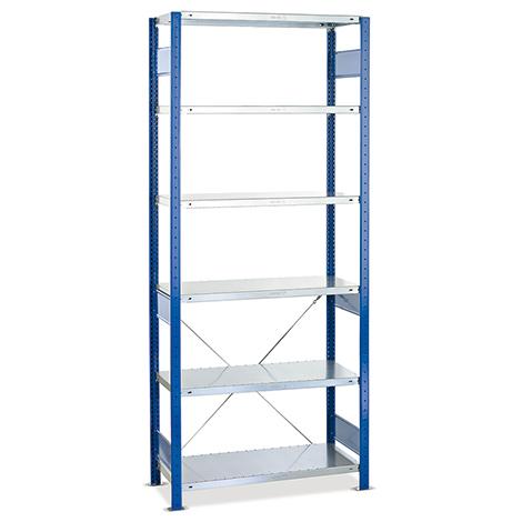 Fachbodenregal Stecksystem Grundfeld. Fachlast 250 kg, blau/verzinkt