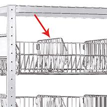 Fachteiler für Fachbodenregal mit Gitterkörben