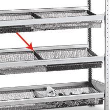 Fachteiler für Weitspannregal mit Gitterkörben