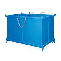 Fällbar bottencontainer, med automatisk frisättning, med fötter, volym 1 m³