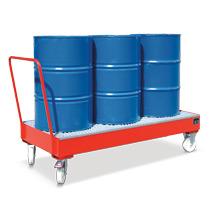 Fahrbare Auffangwanne , für 3 stehende 200 Liter Fässer